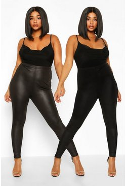 Black Plus 2 Pack PU Legging & Basic Legging