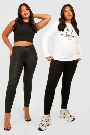 Black Plus 2 Pack Pu Leggings & Basic Leggings