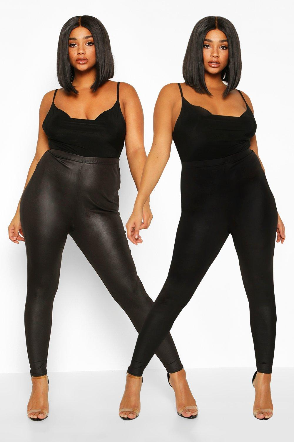 Plus 2 Pack PU Legging & Basic Legging 14