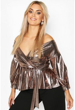 Gold Plus Metallic Wrap Belted Peplum Top