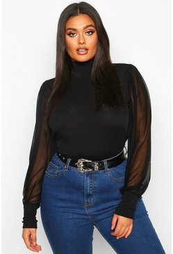 Black Plus High Neck Puff Mesh Sleeve Rib Top