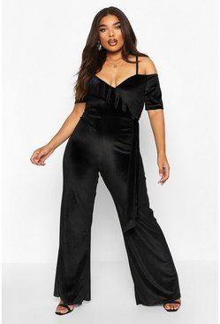 Black Plus Velvet Ruffle Cold Shoulder Wrap Jumpsuit