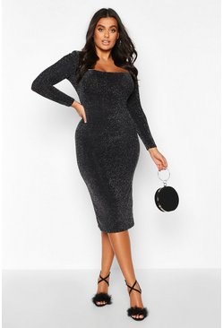 Silver Plus Glitter Square Neck Long Sleeve Midi Dress