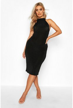 Black Plus High Neck Textured Slinky Midi Dress