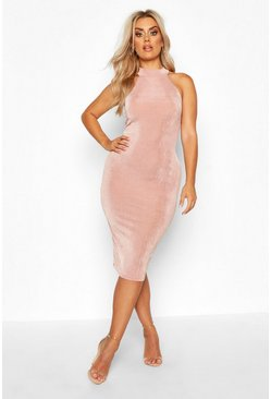 Rose pink Plus High Neck Textured Slinky Midi Dress
