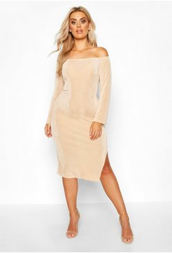 Stone Plus Off The Shoulder Textured Slinky Midi Dress