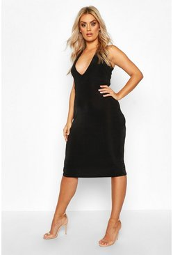 Black Plus Plunge Textured Slinky Midi Dress