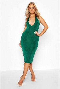 Jade green Plus Plunge Textured Slinky Midi Dress