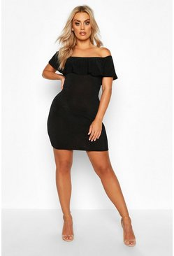 Black Plus Bardot Ruffle Textured Slinky Mini Dress