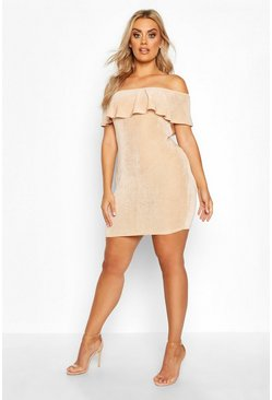 Stone beige Plus Off The Shoulder Ruffle Textured Slinky Mini Dress