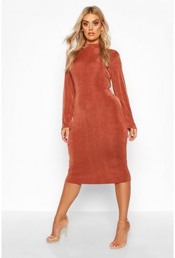 Chocolate brown Plus Textured Slinky High Neck Midi Dress