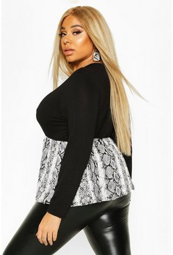 Black Plus Contrast Snakeskin Long Sleeve Smock Top