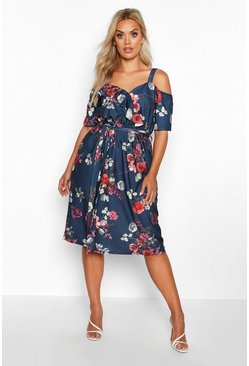 Navy Plus Floral Plunge Ruffle Midi Dress