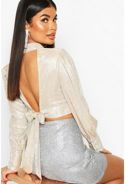 Gold metallic Petite Glitter Metallic Open Back Top
