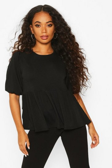 Black Petite Ribbed Puff Sleeve Smock Top