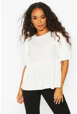 Ivory white Petite Ribbed Puff Sleeve Smock Top
