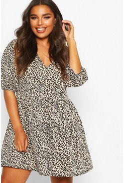 Stone beige Plus Leopard Puff Sleeve Sweat Smock Dress