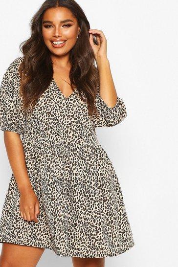 Stone beige Plus Leopard Puff Sleeve Sweat Smock Dress