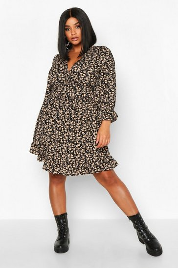 Black Plus Floral Ruffle Skater Dress