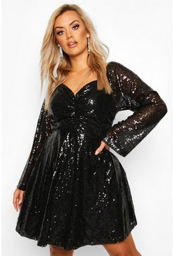 Black Plus Sequin Puff Sleeve Ruched Detail Skater Dress
