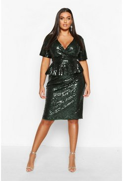 Emerald green Plus Sequin Peplum Wrap Midi Dress
