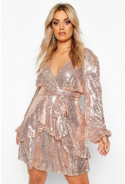 Rose gold metallic Plus Plunge Ruffle Hem Sequin Skater Dress