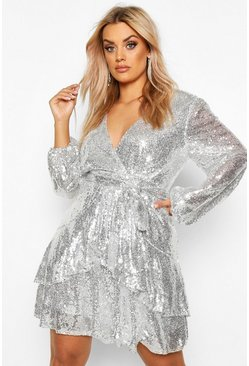 Silver Plus Plunge Ruffle Hem Sequin Skater Dress