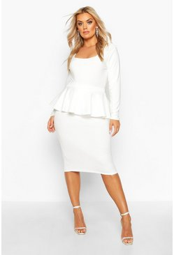 Ivory white Plus Scuba Peplum Midi Skirt