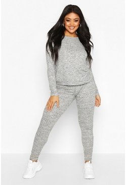 Grijs grey Plus Oversized Geribbelde Top En Joggingbroek Set