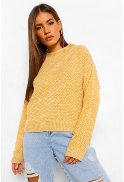 Yellow Petite Waffle Knit Marl Knitted Sweater