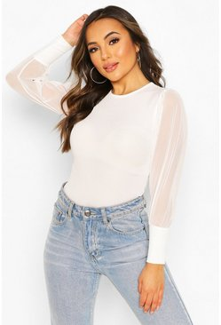 Ivory Petite Ribbed Mesh Sleeve Top