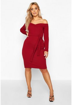Wine red Plus Bardot Wrap Tie Belt Midi Dress