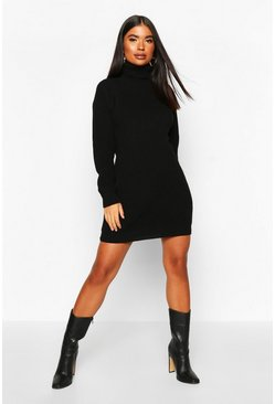 Black Petite Roll Neck Jumper Dress