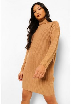 Camel beige Petite Turtleneck Sweater Dress