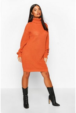 Toffee beige Petite Roll Neck Jumper Dress