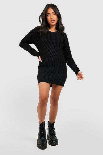 Black Petite Rib V-Neck Jumper Dress