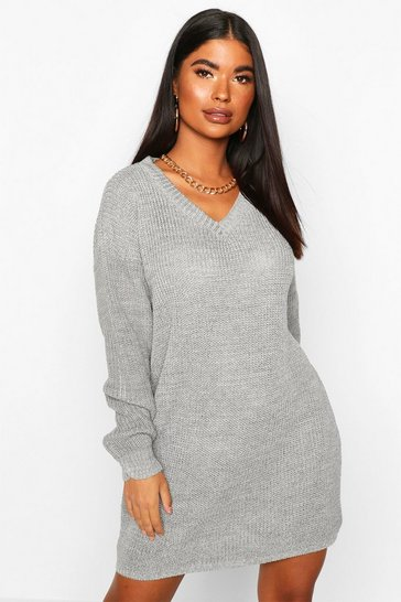 Silver Petite Rib V-Neck Jumper Dress