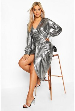 Silver Plus Metallic Plunge Long Sleeve Wrap Detail Dress