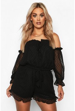 Black Plus Dobby Mesh Bardot Ruffle Playsuit