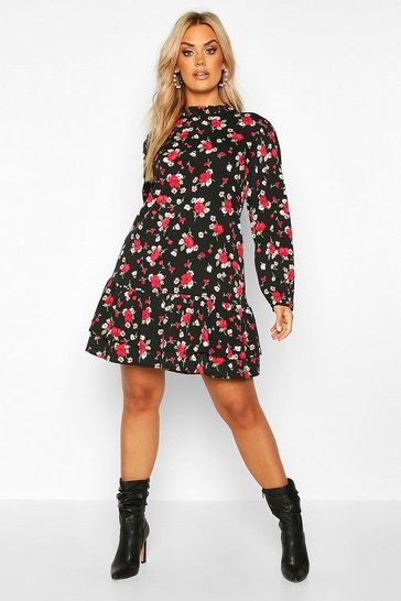 Black Plus Floral Rose High Neck Smock Dress