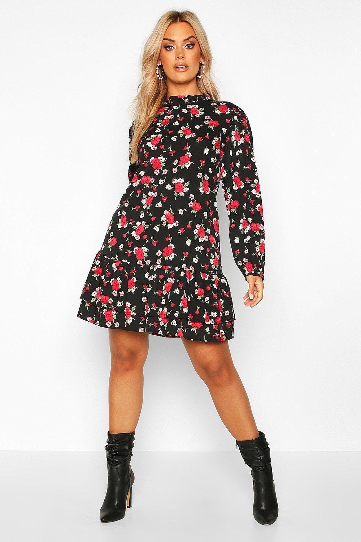 Plus Floral Rose High Neck Smock Dress 2