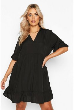 Black Plus Shirt Ruffle Smock Dress