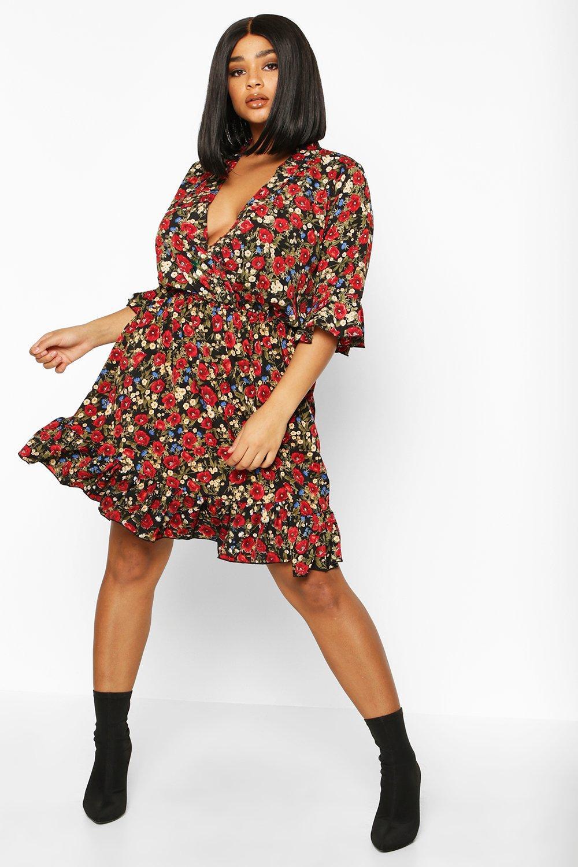 Plus Floral Ruffle Wrap Skater Dress 12
