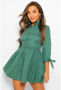 Olive green Petite Button Through Smock Dress