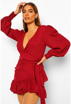 Berry Petite Frill Hem Belted Wrap Dress