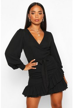 Black Petite Frill Hem Belted Wrap Dress