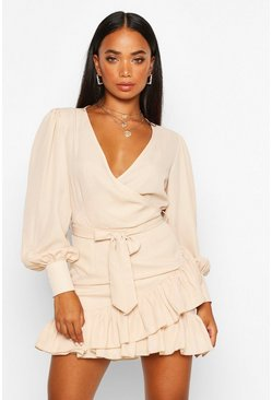 Stone beige Petite Frill Hem Belted Wrap Dress