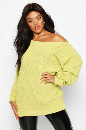 Soft lime yellow Plus Slash Neck Longline Jumper