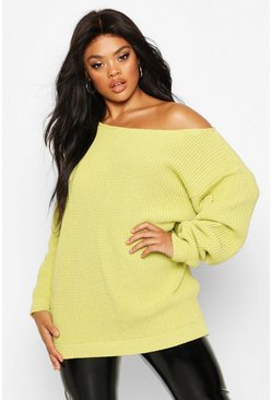 Soft lime yellow Plus Slash Neck Longline Sweater