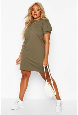 Khaki Plus Ruched Knot Puff Sleeve T-Shirt Dress